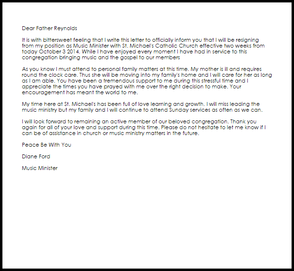 church membership resignation letter sample