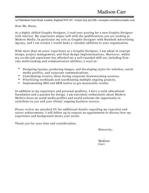 Graphic Designer Cover Letter Examples For Marketing
