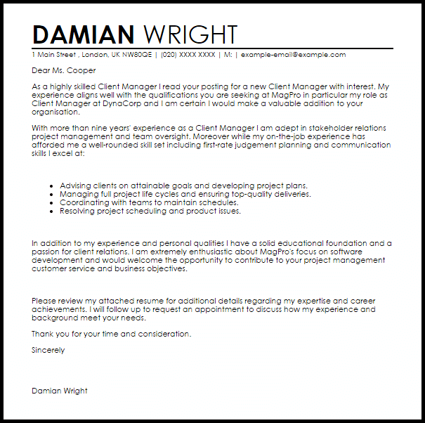 Client Manager Cover Letter Sample LiveCareer