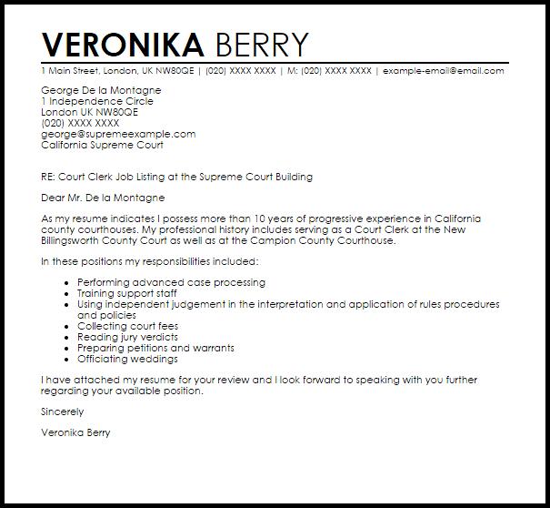 Court Clerk Cover Letter Sample LiveCareer