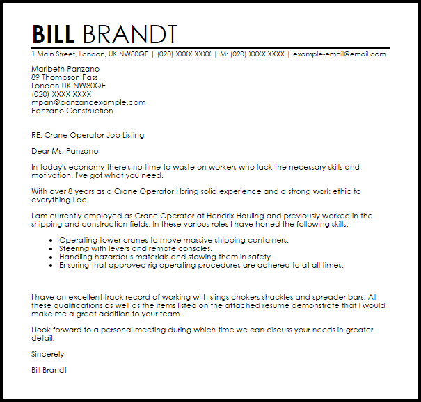 Crane Operator Cover Letter Sample LiveCareer