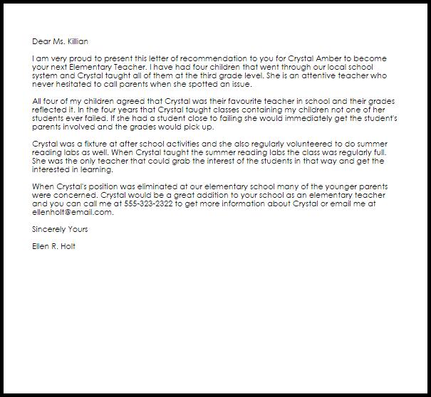 Elementary Teacher Recommendation Letter LiveCareer