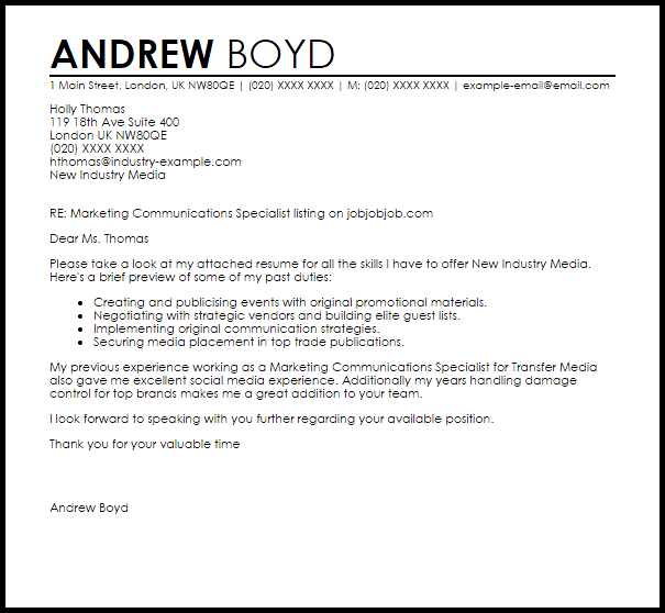 Marketing Communications Specialist Cover Letter Sample