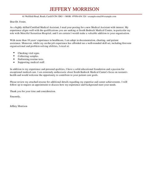 Medical Assistant Cover Letter Examples For Healthcare