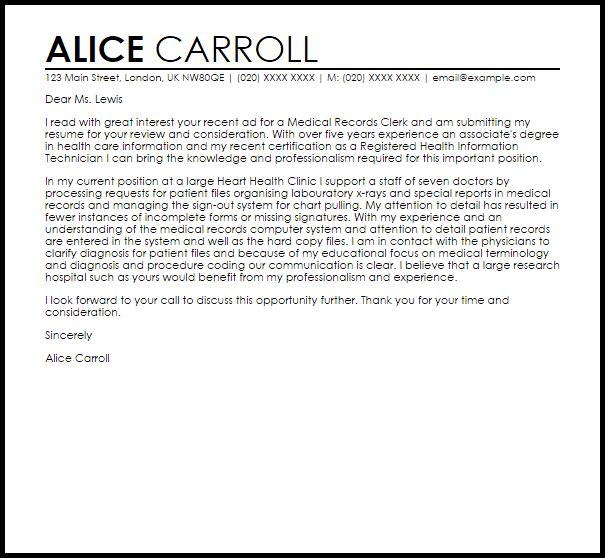 Medical Records Clerk Cover Letter Sample LiveCareer