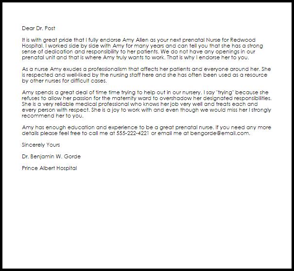 nurse recommendation letter