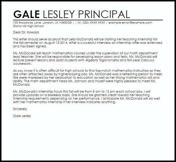 email cover letter for internship