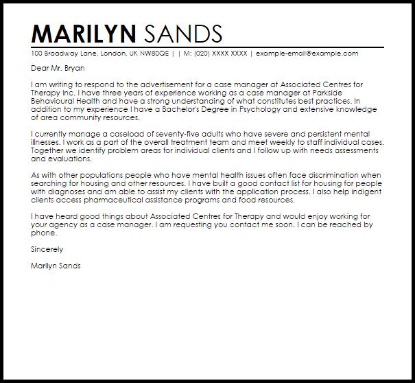 sample cover letter for social work