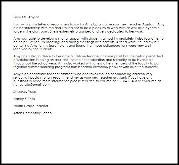 recommendation letter for preschool teacher