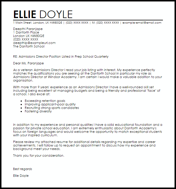 sample resume for admissions director