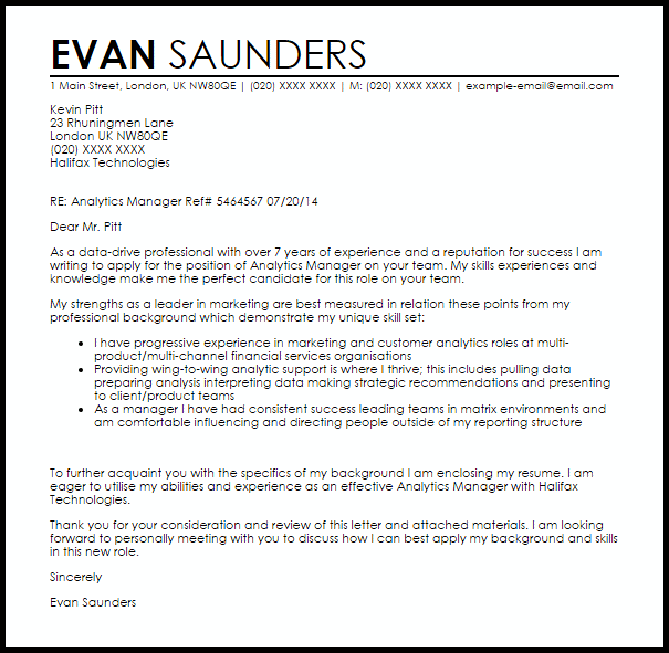 Analytics Manager Cover Letter Sample  Cover Letter Templates  Examples