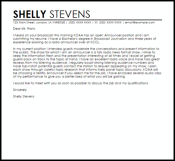 Announcer Cover Letter Sample Cover Letter Templates