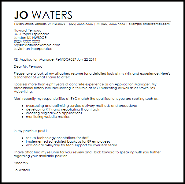 application cover letter example