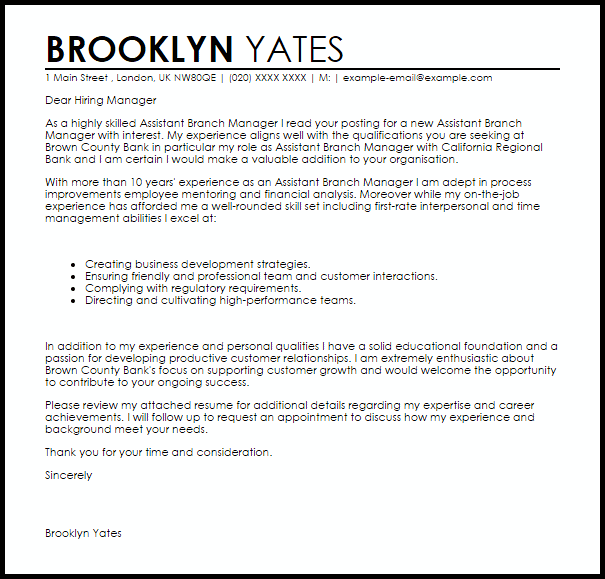 Assistant Branch Manager Cover Letter Sample Cover