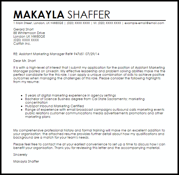 Sample cover letter for marketing officer  In a position towards construct your sturdy letter