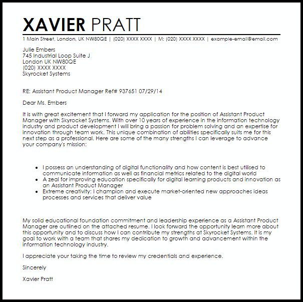 Assistant Product Manager Cover Letter Sample  Cover Letter Templates  Examples