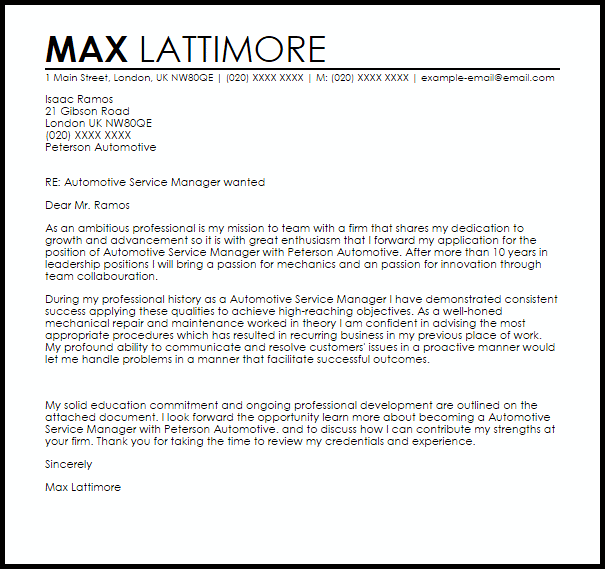 Automotive Service Manager Cover Letter Sample  Cover