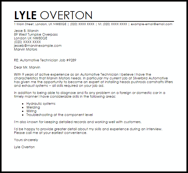 Automotive Technician Cover Letter Sample  Cover Letter