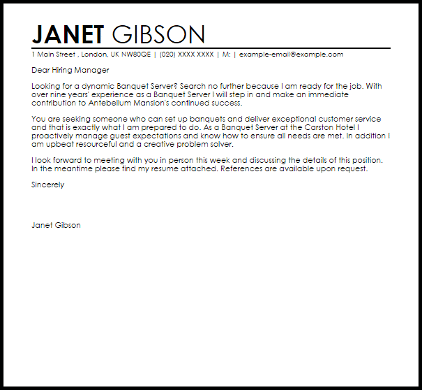Banquet Server Cover Letter Sample Cover Letter