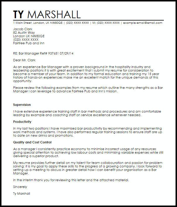 hotel manager resume cover letter