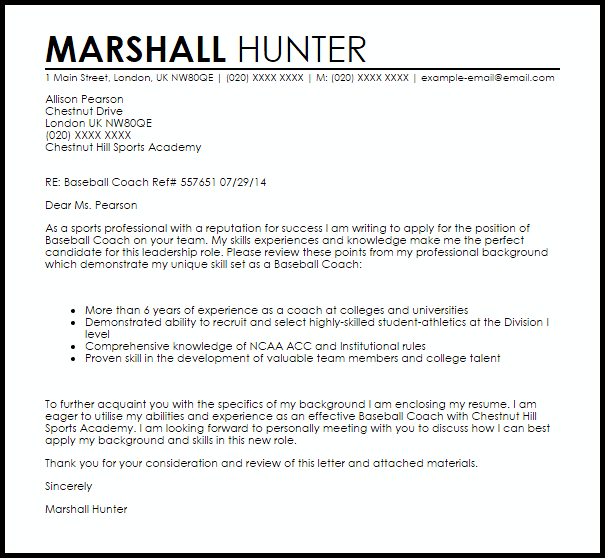 Baseball Coach Cover Letter Sample  Cover Letter