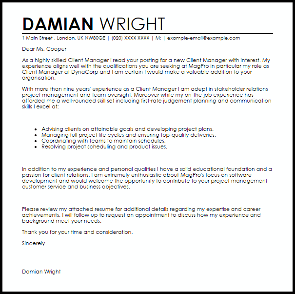 Client Manager Cover Letter Sample Cover Letter
