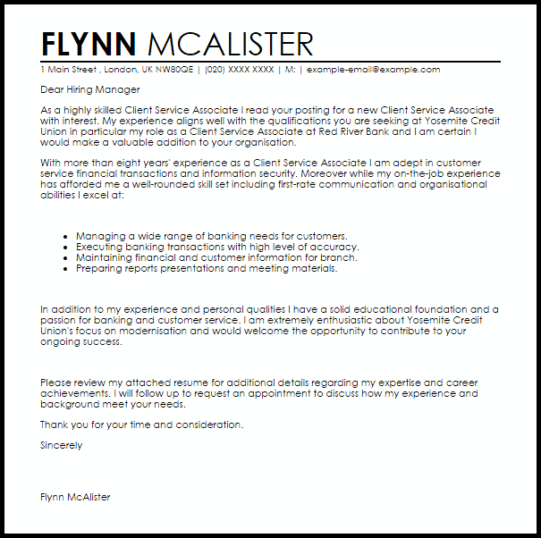 Client Service Associate Cover Letter Sample Cover