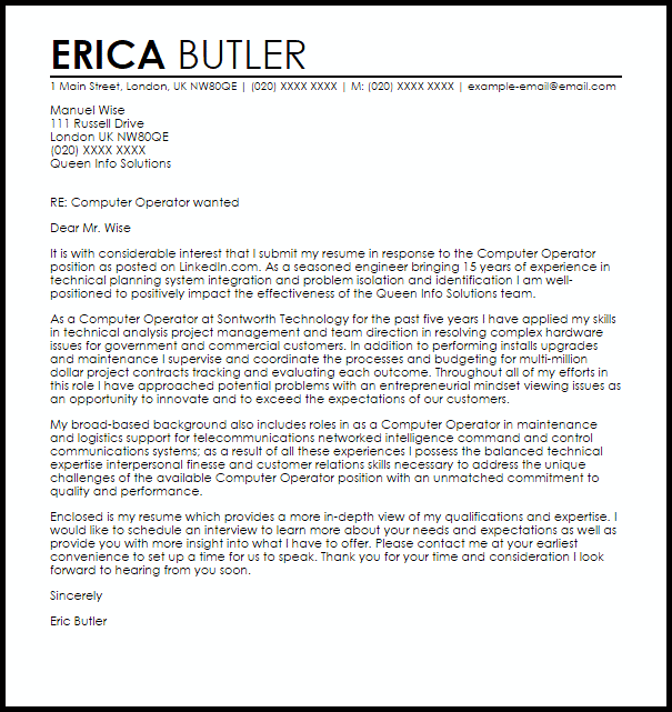 Computer Operator Cover Letter Sample Cover Letter