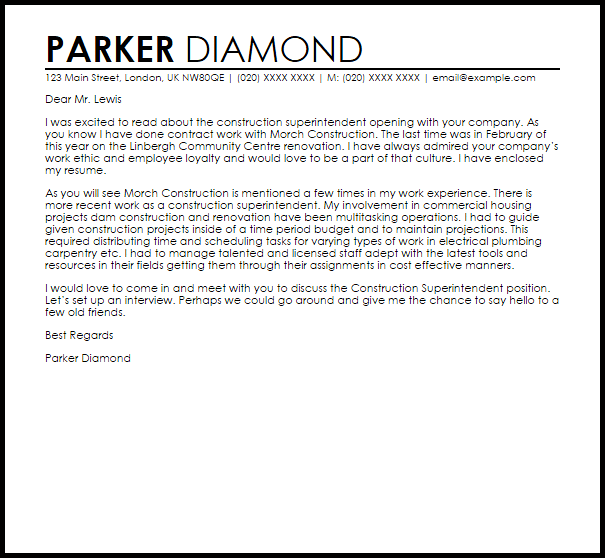 Construction Superintendent Cover Letter Sample  Cover