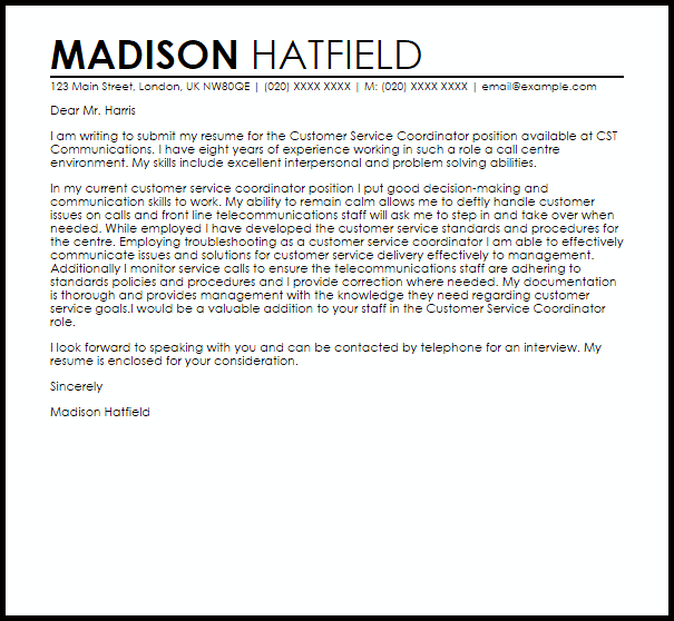 Customer Service Coordinator Cover Letter Sample  Cover