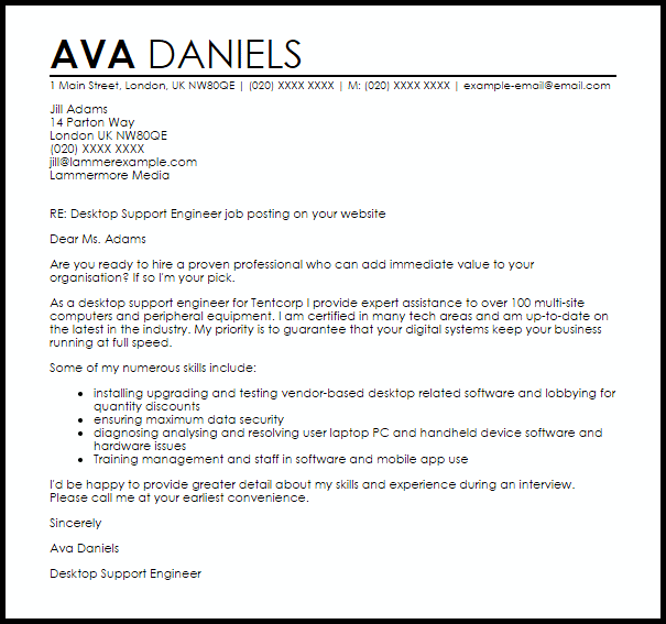 Desktop Support Engineer Cover Letter Sample  Cover Letter Templates  Examples