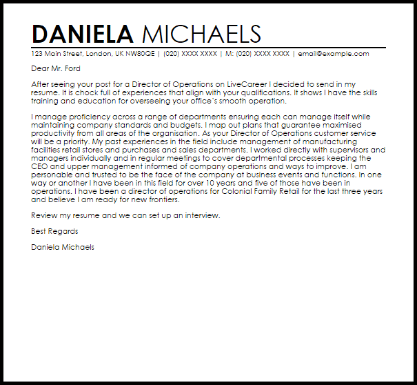 Director of Operations Cover Letter Sample  Cover Letter Templates  Examples