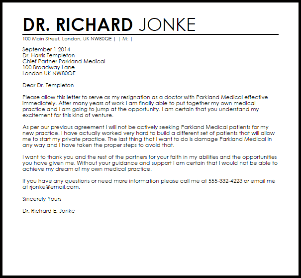 Doctor Resignation Letter Example  Letter Samples  Templates