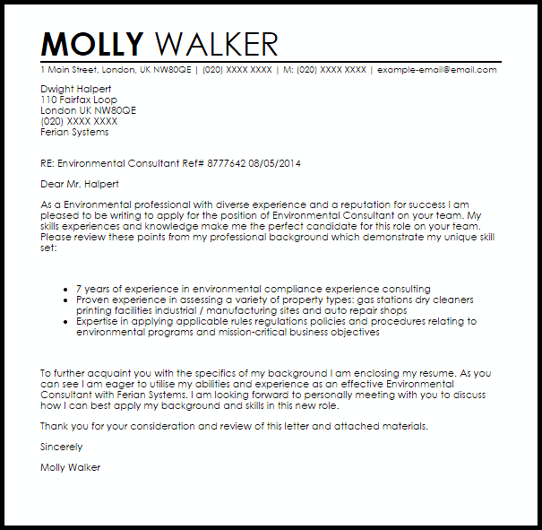 Environmental Consultant Cover Letter Sample  Cover Letter Templates  Examples
