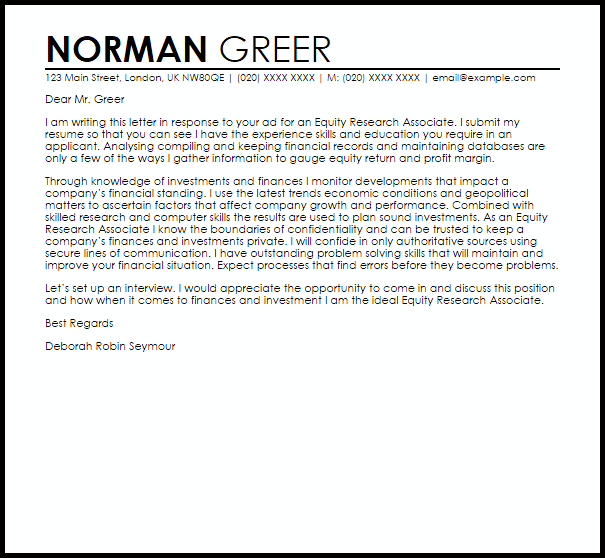 Equity Research Associate Cover Letter Sample Cover