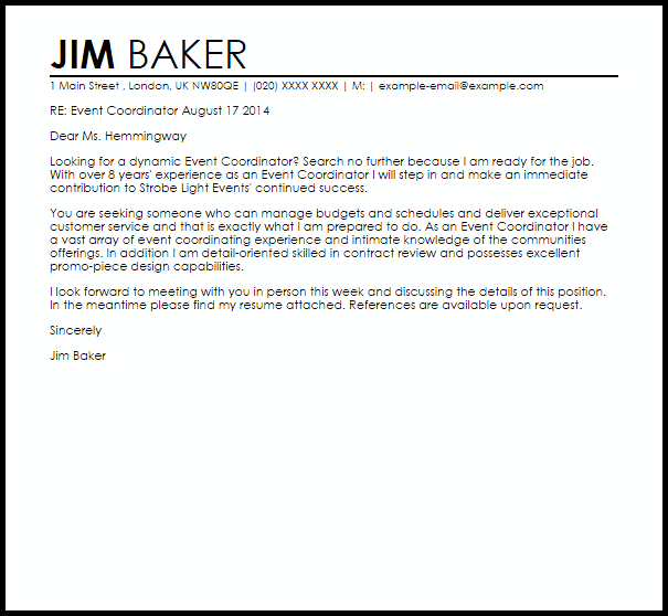 event coordinator cover letter sample