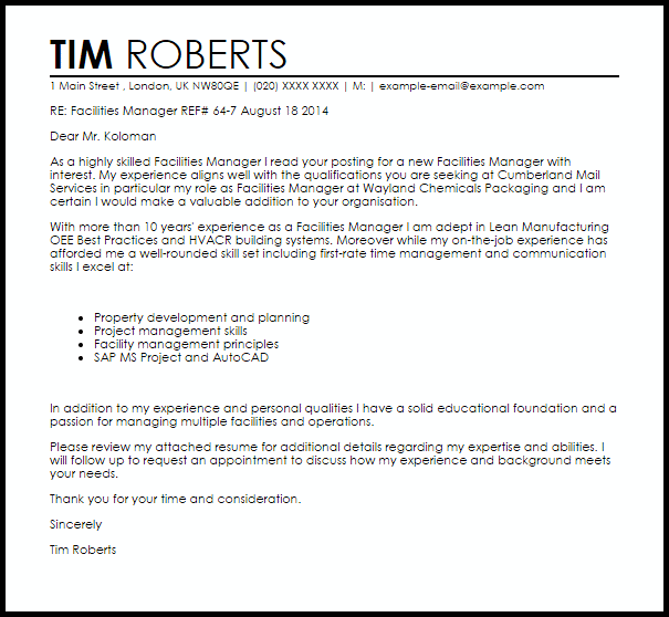 Facilities Manager Cover Letter Sample  Cover Letter