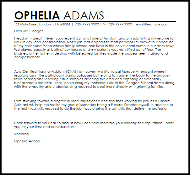 Funeral Assistant Cover Letter Sample  Cover Letter