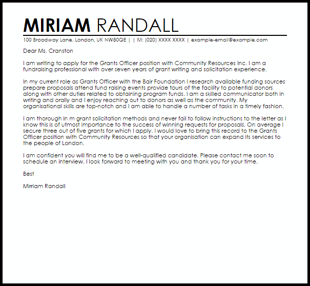 cover letter for fundraising position