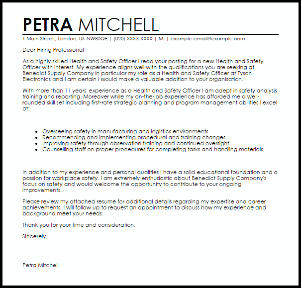 Health And Safety Officer Cover Letter Sample Cover