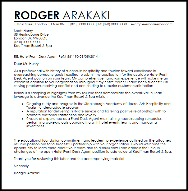 Hotel Front Desk Agent Cover Letter Sample Cover Letter