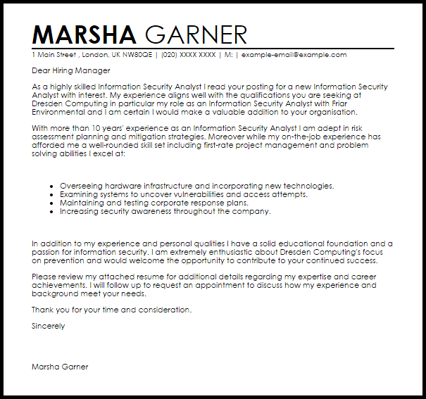 Information Security Analyst Cover Letter Sample  Cover Letter Templates  Examples