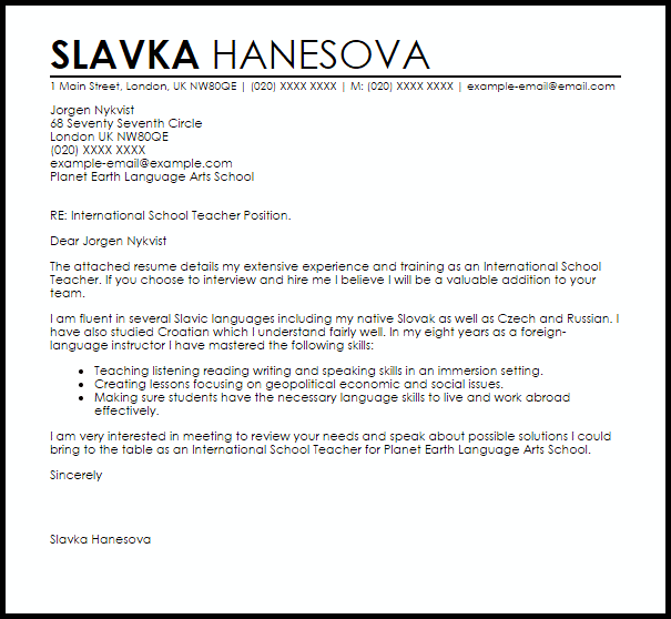 International School Teacher Cover Letter Sample  Cover Letter Templates  Examples