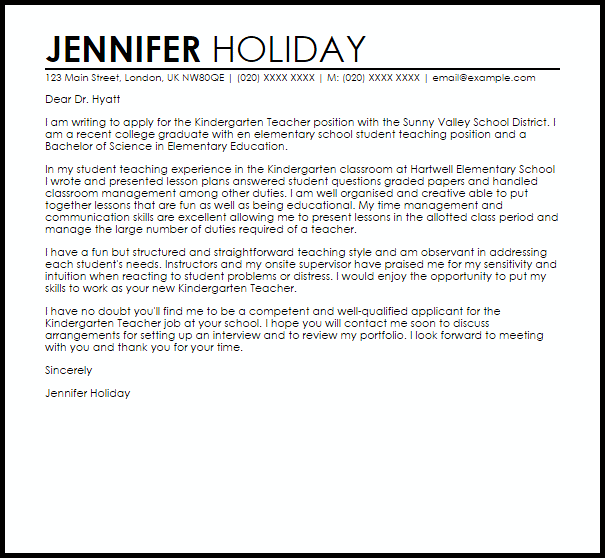 Kindegarten Teacher Cover Letter Sample  Cover Letter
