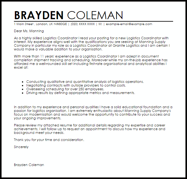 Logistics Coordinator Cover Letter Sample  Cover Letter