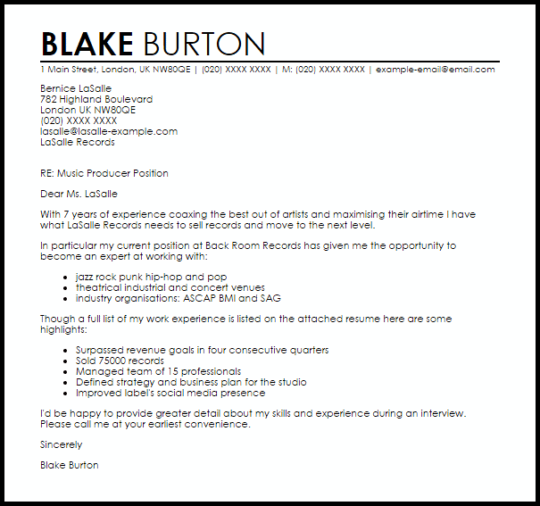 Music Producer Cover Letter Sample  Cover Letter Templates  Examples