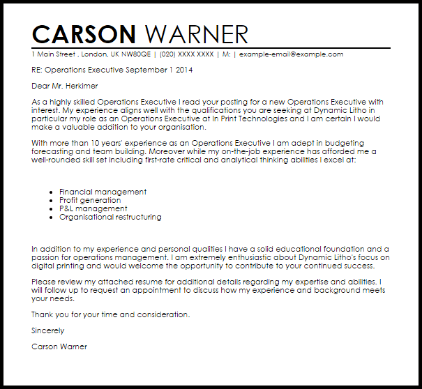Operations Executive Cover Letter Sample Cover Letter
