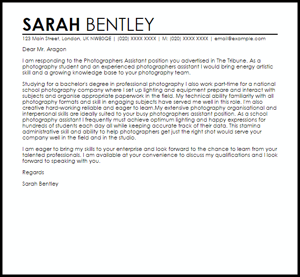 98 Photography Assistant Cover Letter Photographer