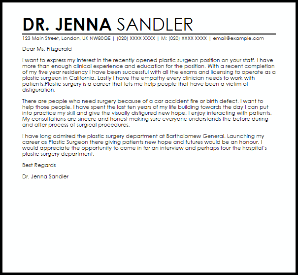 Plastic Surgeon Cover Letter Sample  Cover Letter Templates  Examples