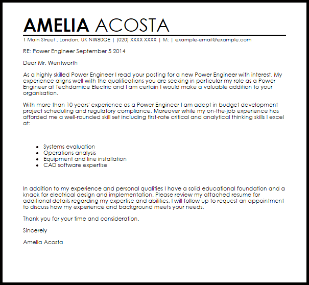 Power Engineer Cover Letter Sample Cover Letter